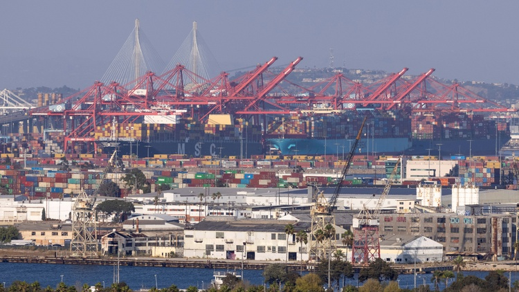 More than 100 ships off the coast of LA — a record number — are waiting to offload their cargo.