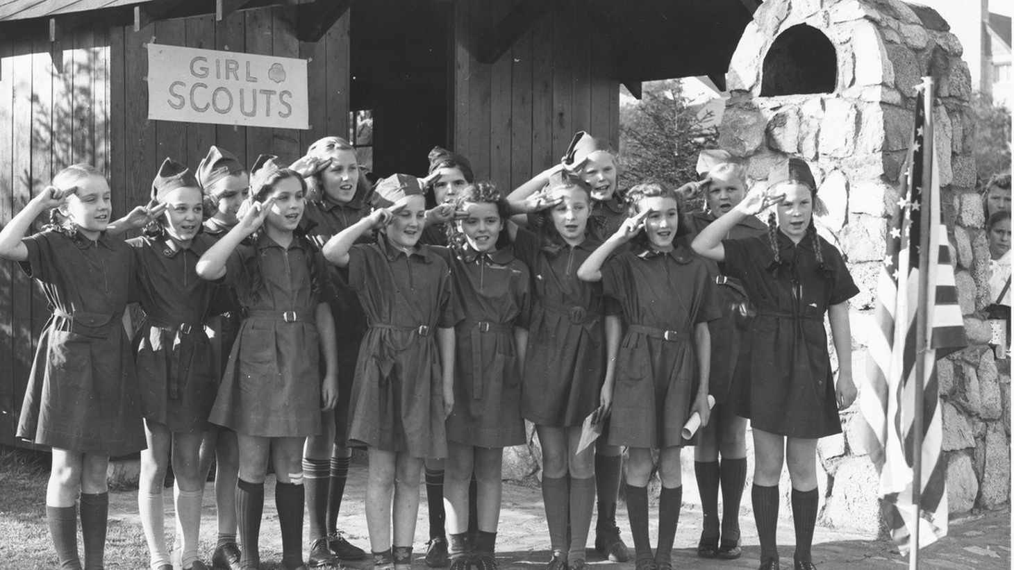 Girl Scouts, circa 1940s, taken at Camp Long.