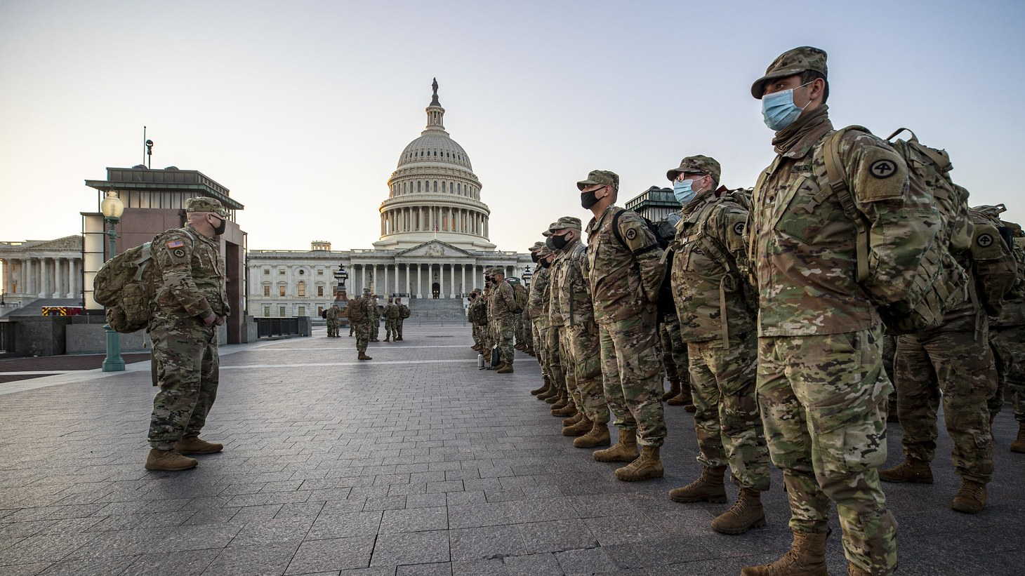 Local and federal security officials near the Capitol in Washington, D.C. expect about 20,000 National Guard members to be involved in President-elect Joe Biden's inauguration next week. January 14, 2021.