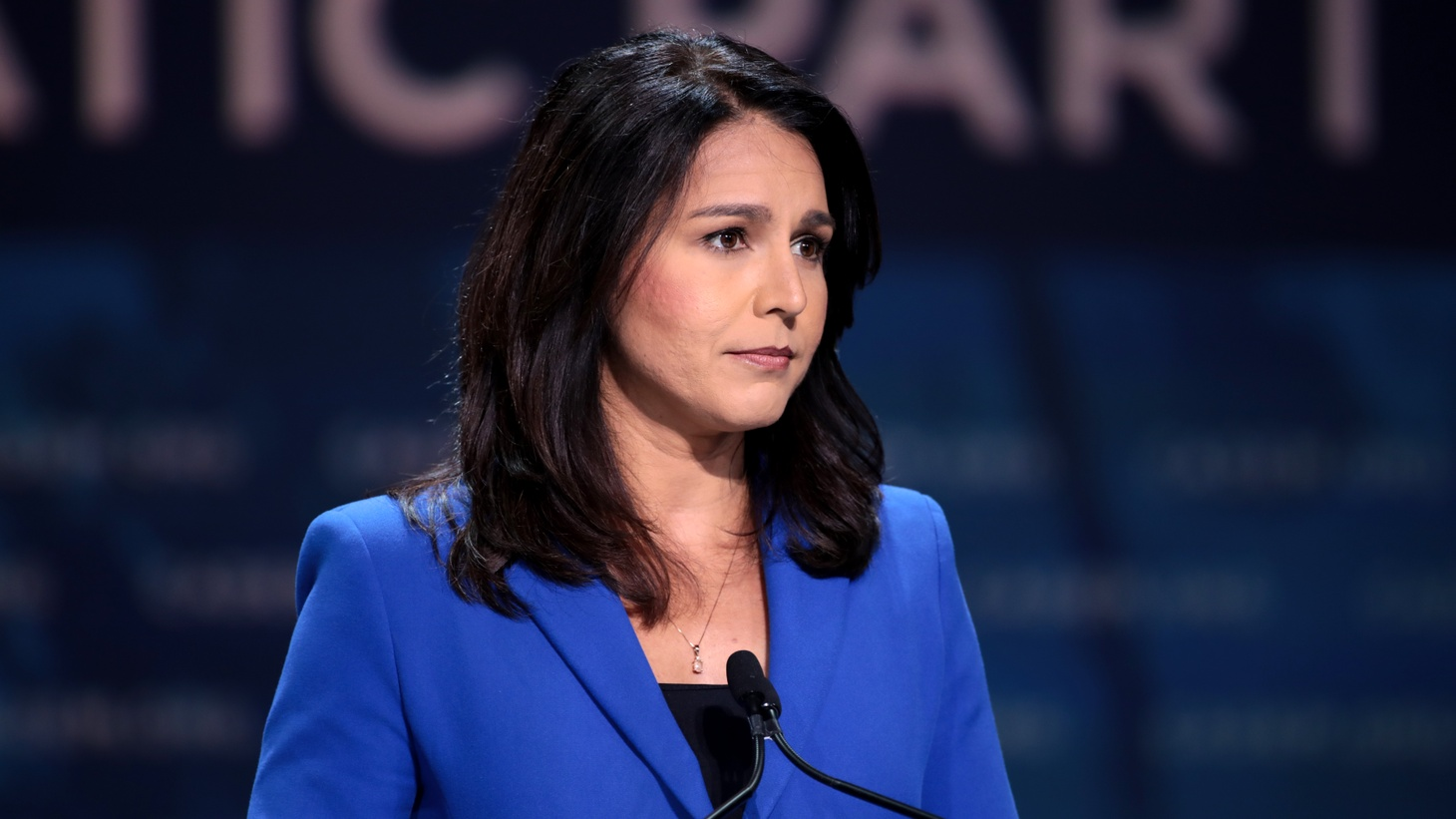 Tulsi Gabbard speaking with attendees at the 2019 California Democratic Party State Convention at the George R. Moscone Convention Center in San Francisco, California.
