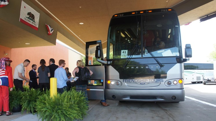 California delegates board the bus for the 60 mile ride to the convention center. Photo: Saul Gonzalez