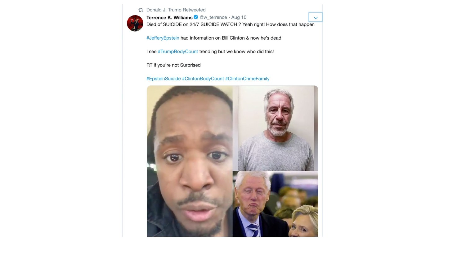 President Trump's retweet about Jeffrey Epstein's death.