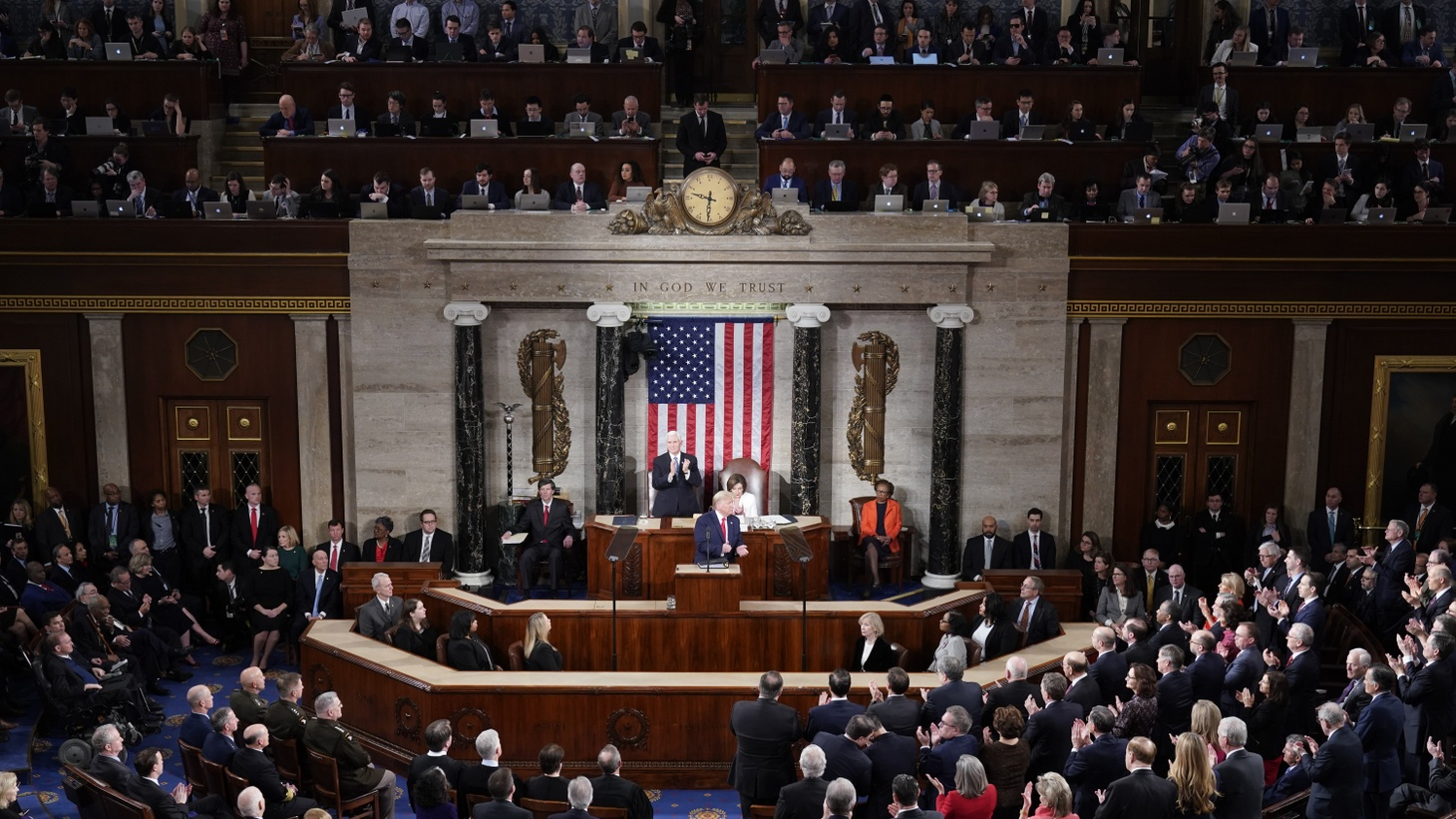 U.S. President Donald Trump delivers the State of the Union address to a joint session of the U.S. Congress in the House Chamber of the U.S. Capitol in Washington, U.S., February 4, 2020.