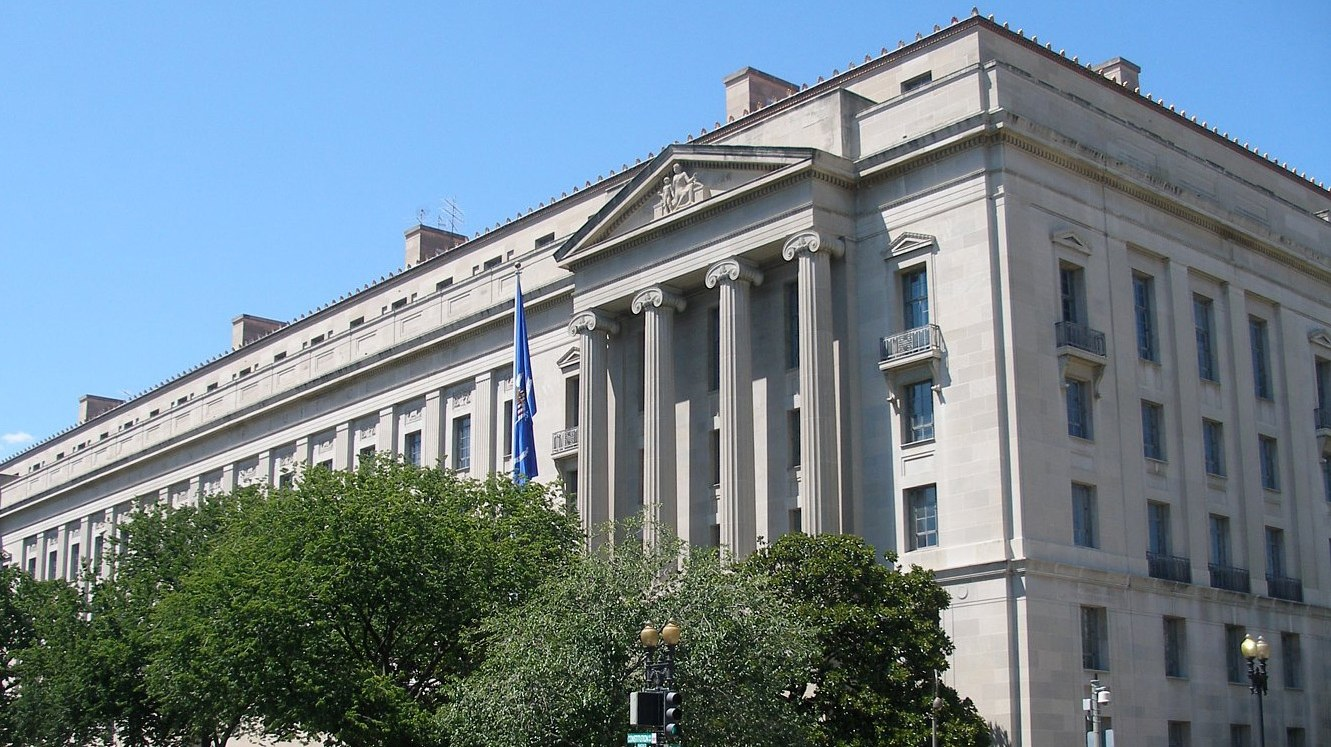 The Robert F. Kennedy Department of Justice Building in Washington, DC.