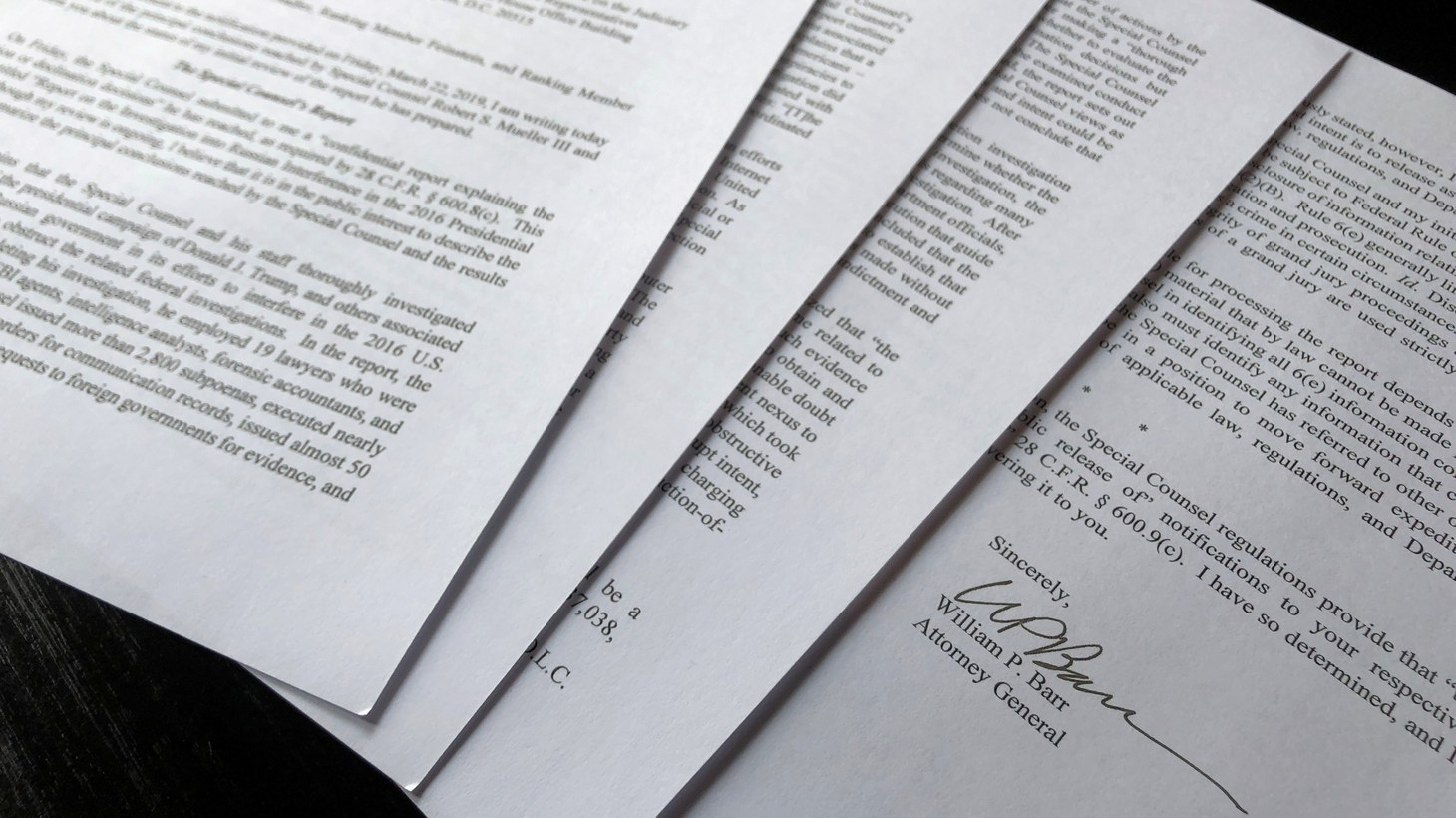 U.S. Attorney General William Barr's signature is seen at the end of his four page letter to U.S. congressional leaders on the conclusions of Special Counsel Robert Mueller's report on Russian meddling in the 2016 election after the letter was released by the House Judiciary Committee in Washington, U.S. March 24, 2019.