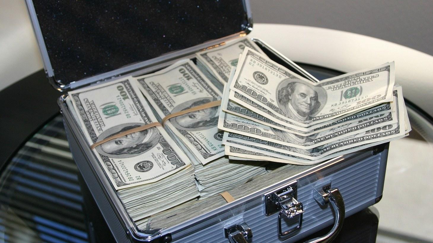 A box full of $100 bills.