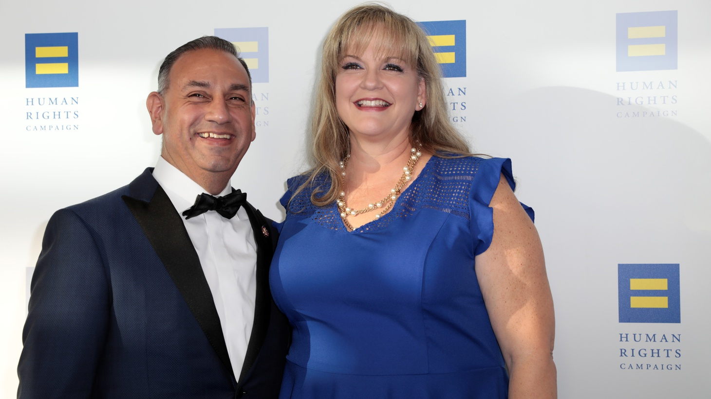 Gil and Jacki Cisneros arrive at the Human Rights Campaign (HRC) dinner in Los Angeles.