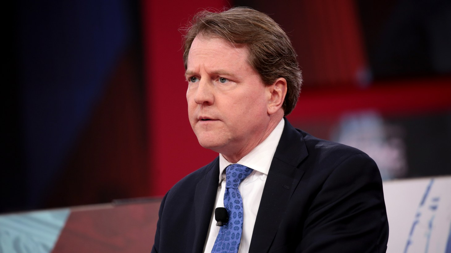 Don McGahn speaking at the 2018 Conservative Political Action Conference (CPAC) in National Harbor, Maryland.