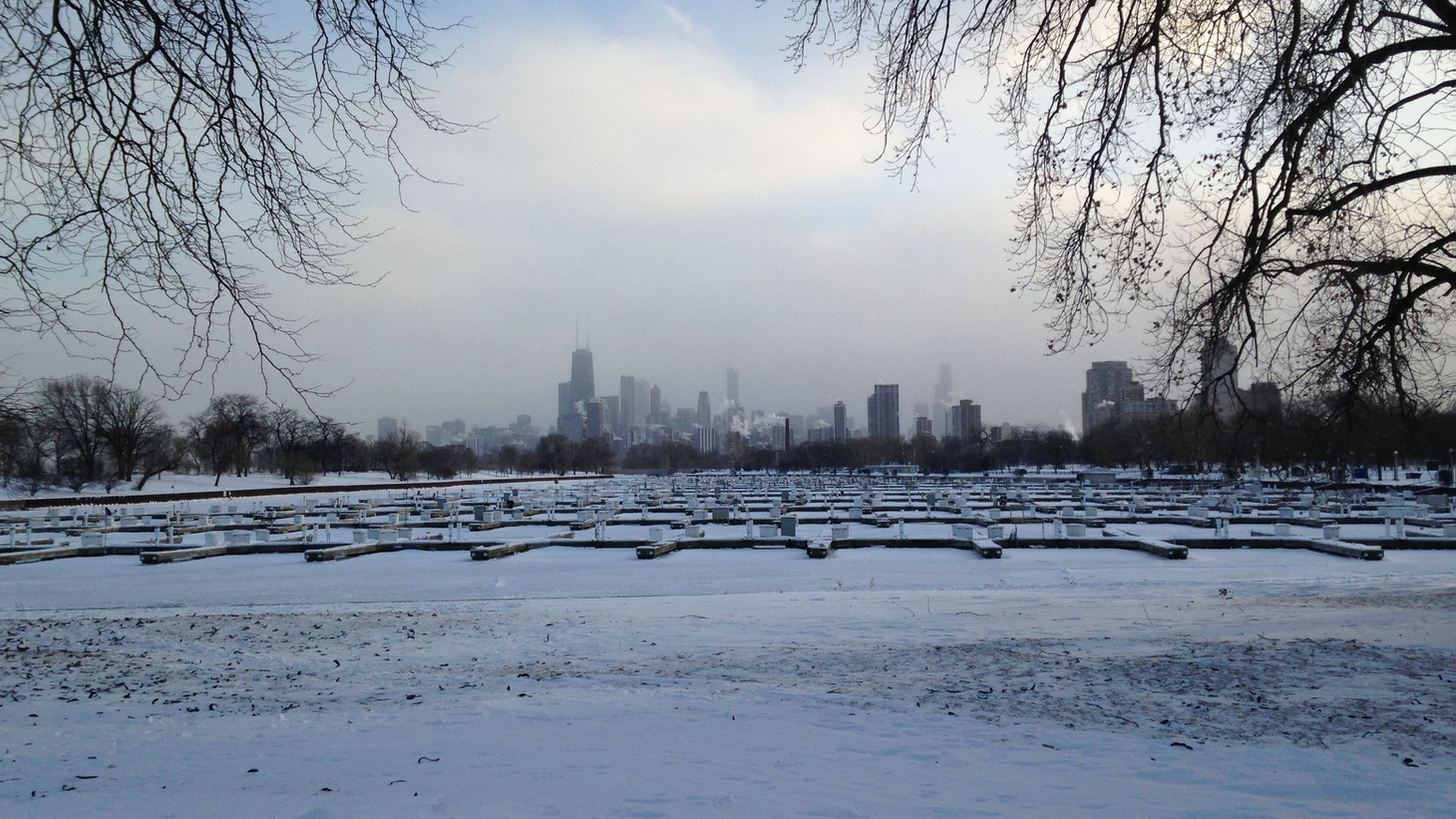 View of downtown Chicago from Diversey Harbor during 2014 Polar Vortex.