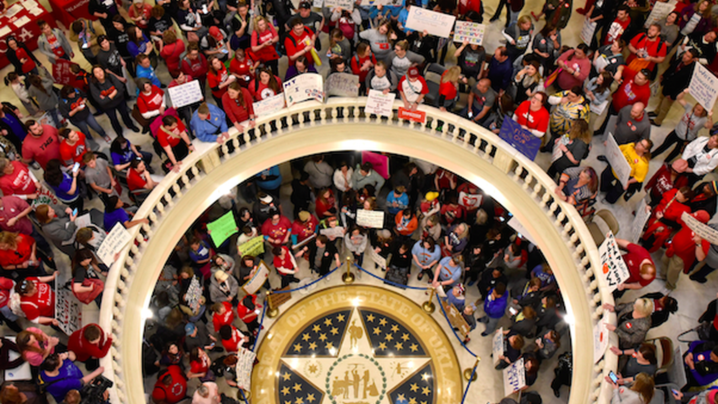 Teachers are striking for a second day in Oklahoma, where years of budget cuts have forced one in five schools to operate on a four-day week. In Kentucky, thousands flooded the capital over changes to their pension plans yesterday.