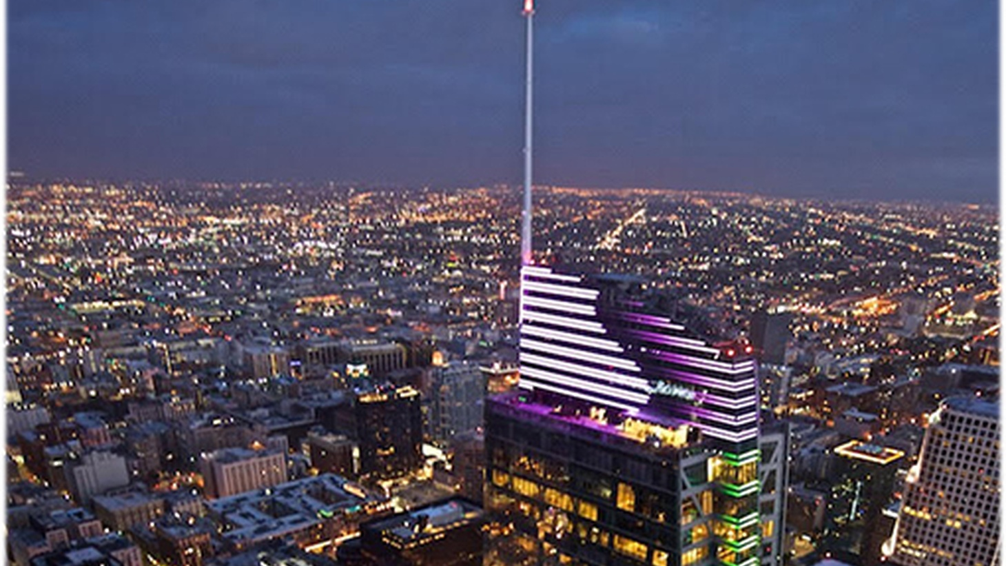 The Wilshire Grand Center is the tallest building west of Chicago, thanks to its nearly 300-foot spire. The curved glass skyscraper will house a luxury InterContinental Hotel, offices, and several restaurants and bars. There's a cocktail bar on the tower's 73rd floor observation deck and a fancy steakhouse.