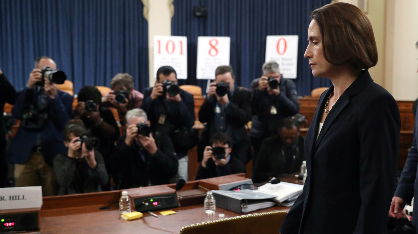 Fiona Hill, former senior director for Europe and Russia on the National Security Council, returns after a recess break at a House Intelligence Committee hearing as part of the impeachment inquiry into U.S. President Donald Trump on Capitol Hill in Washington, U.S., November 21, 2019.