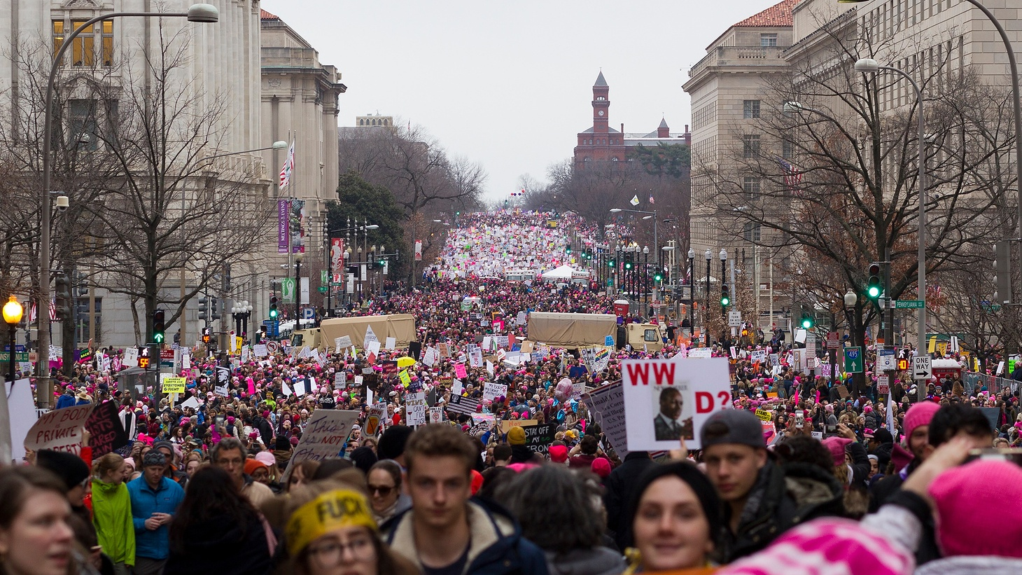 Millions worldwide attended women's marches on Saturday. Longtime protester Dolores Huerta has advice for younger activists. We speak with a march leader, along with an anti-abortion activist who attended the event in DC. Also, how effective have mass demonstrations been throughout history?