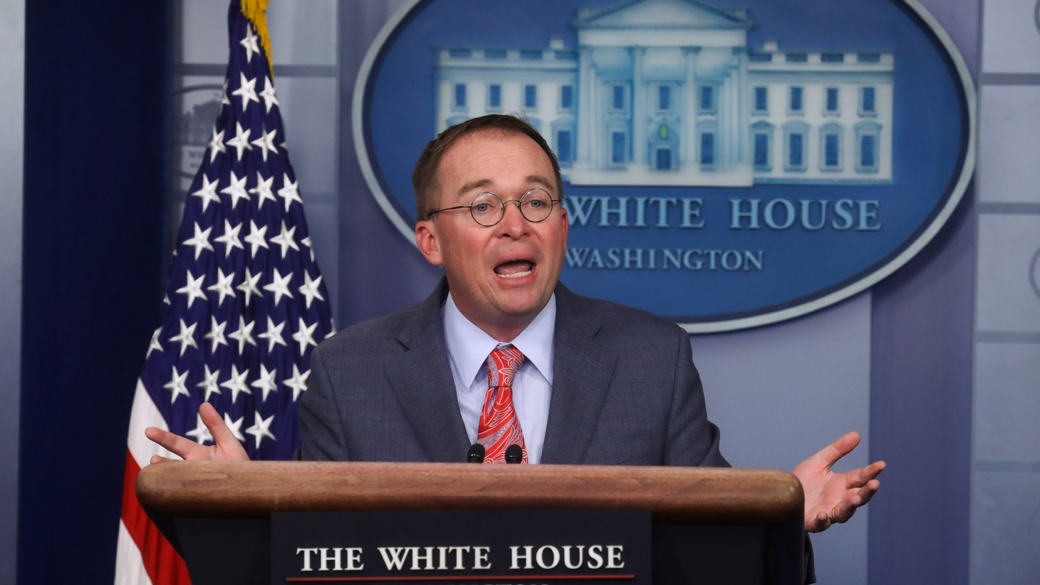 Acting White House Chief of Staff Mick Mulvaney answers questions from reporters during a news briefing at the White House in Washington, U.S., October 17, 2019.