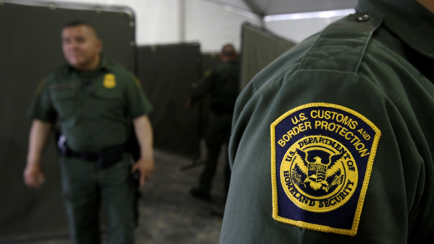 U.S. Border Patrol agents are seen during a tour of U.S. Customs and Border Protection (CBP) temporary holding facilities in El Paso, Texas, U.S., May 2, 2019.