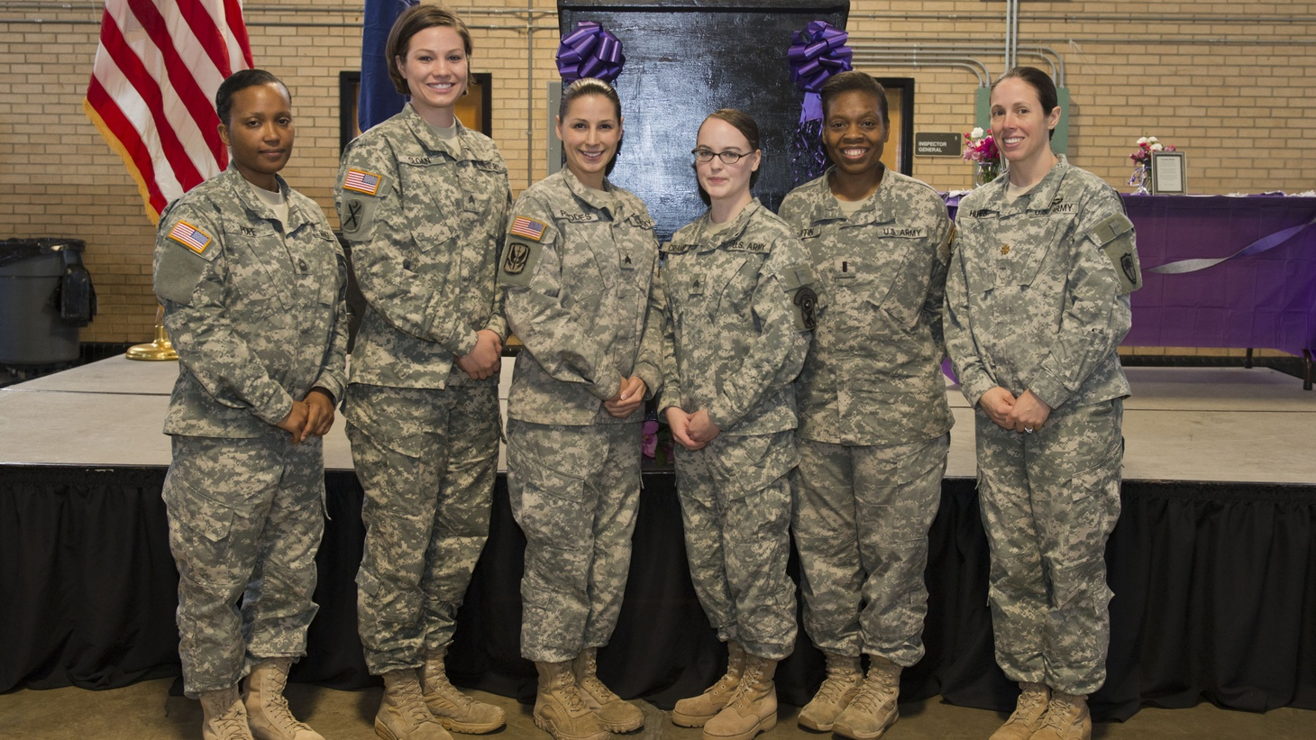 Members of the South Carolina National Guard attend the annual women's history month celebration on March 18, 2015, at the Bluff Road Armory, Columbia, South Carolina.