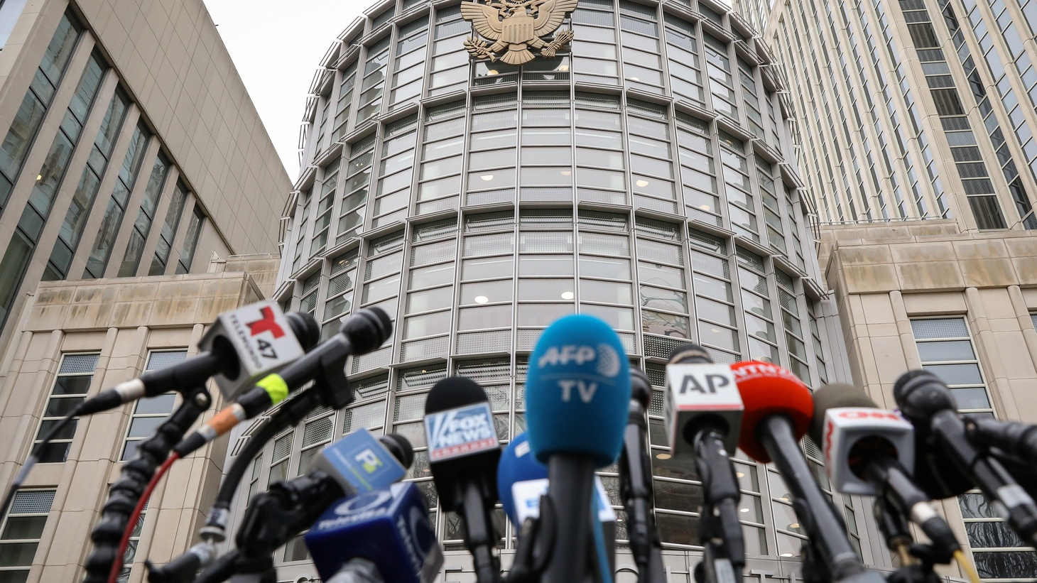 """Microphones are placed outside the Brooklyn Federal Courthouse, during the trial of Joaquin Guzman, the Mexican drug lord known as """"El Chapo,"""" in the Brooklyn borough of New York, U.S., February 7, 2019."""