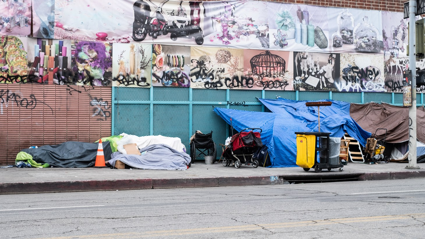 A homeless camp in downtown LA's Fashion District, spring 2019.