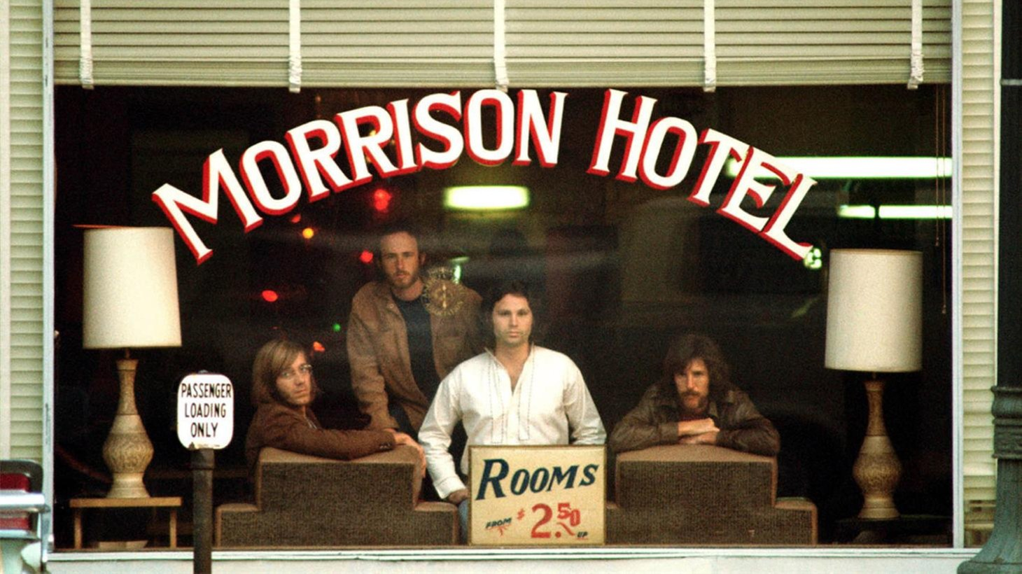"The cover photo of the album ""Morrison Hotel."""