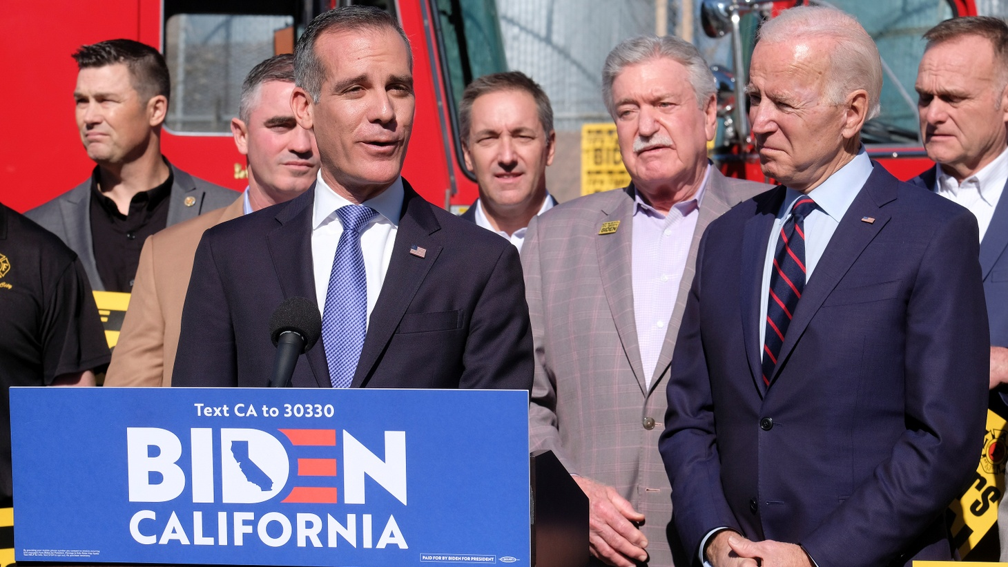 Democratic 2020 U.S. presidential candidate Joe Biden and Los Angeles Mayor Eric Garcetti visit the United Firefighters of Los Angeles City headquarters in Los Angeles, California, U.S., January 10, 2020.