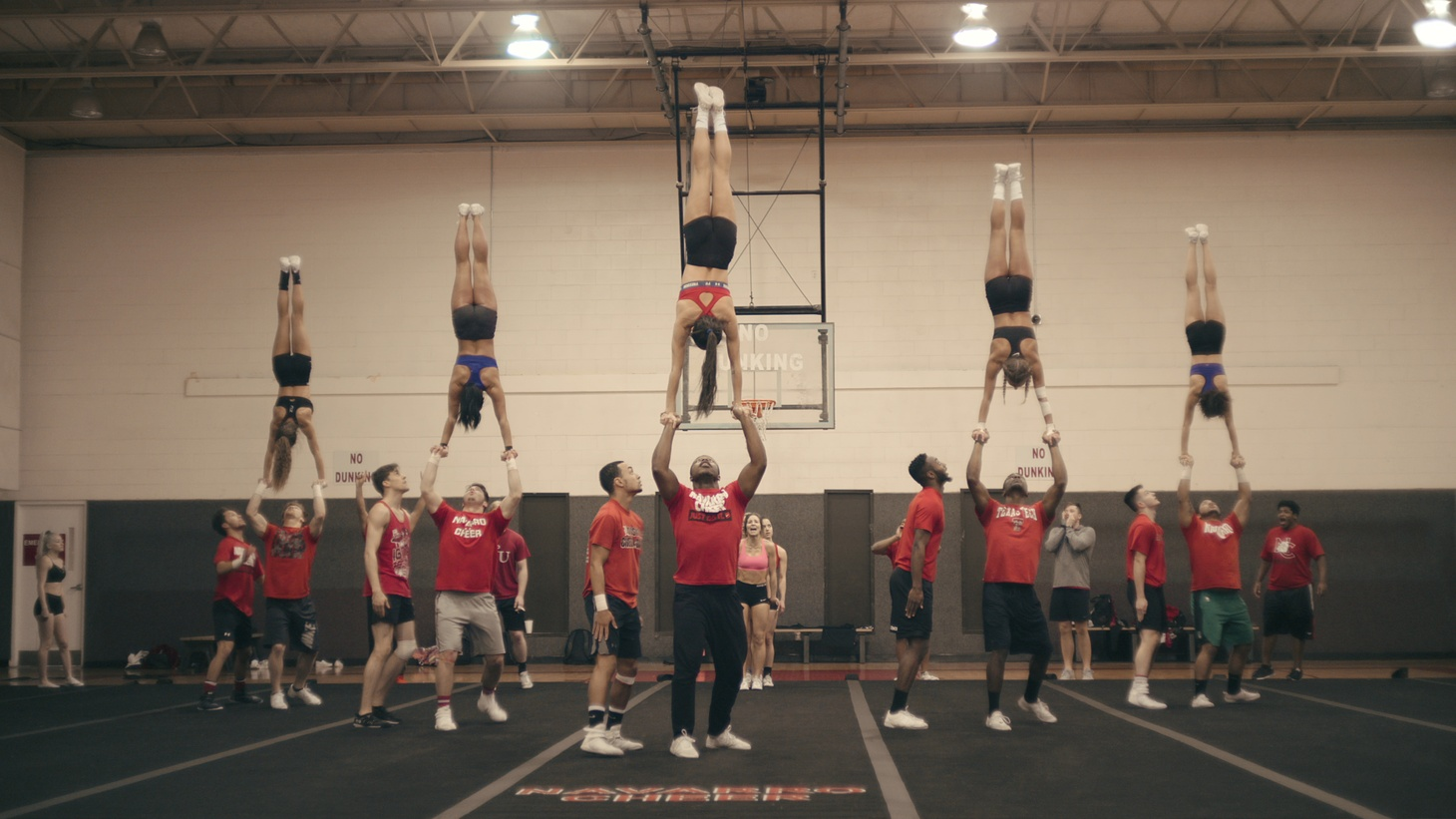 "Navarro College cheerleaders practicing a ""full out."""