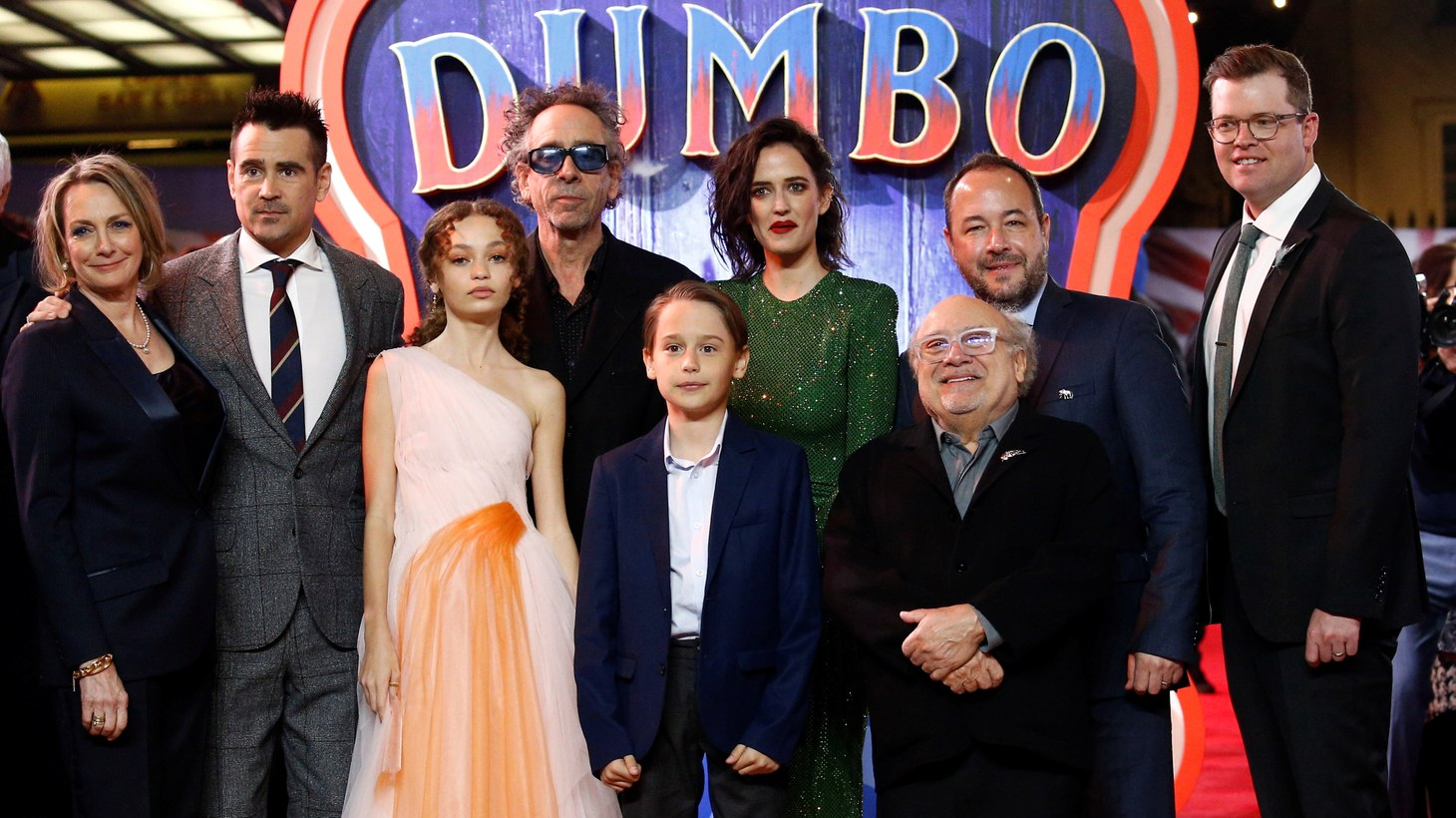 "Producer Katterli Frauenfelder, actor Colin Farrell, actor Nico Parker, director Tim Burton, actor Finley Hobbins, actor Eva Green, actor Danny DeVito, producers Derek Frey and Justin Springer attend the European premiere of ""Dumbo"" movie in London, Britain March 21, 2019."