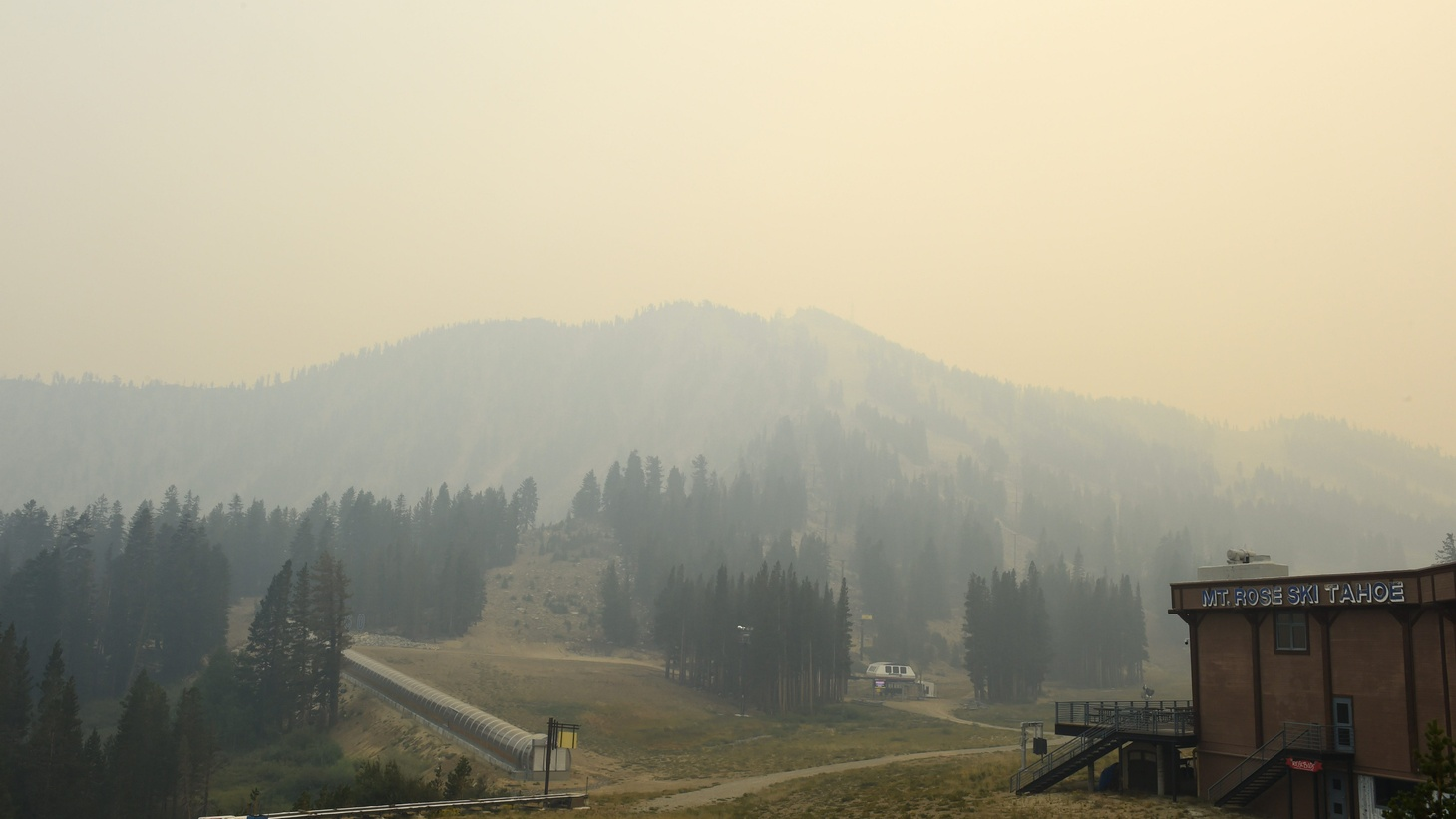 Mt. Rose in Tahoe is covered in smoke from the Dixie and Caldor fires in California on Aug. 24, 2021.