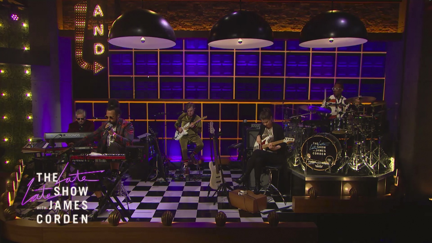 """Steve Scalfati, Reggie Watts, Tim Young, Hagar Ben Ari, and Guillermo Brown perform on """"The Late Late Show with James Corden"""" in August 2020."""