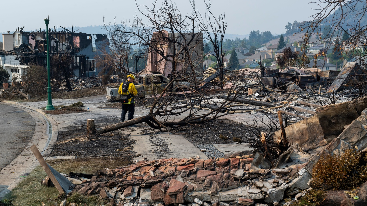 The Glass Fire has destroyed numerous structures in Napa and Sonoma county since it ignited early Sunday morning. Remnants of homes rest on the hill of the Skyhawk neighborhood in Santa Rosa, Calif., on Tuesday, Sept. 29, 2020.