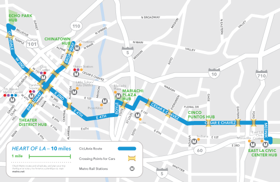 Map for CicLAvia's October 5th ride