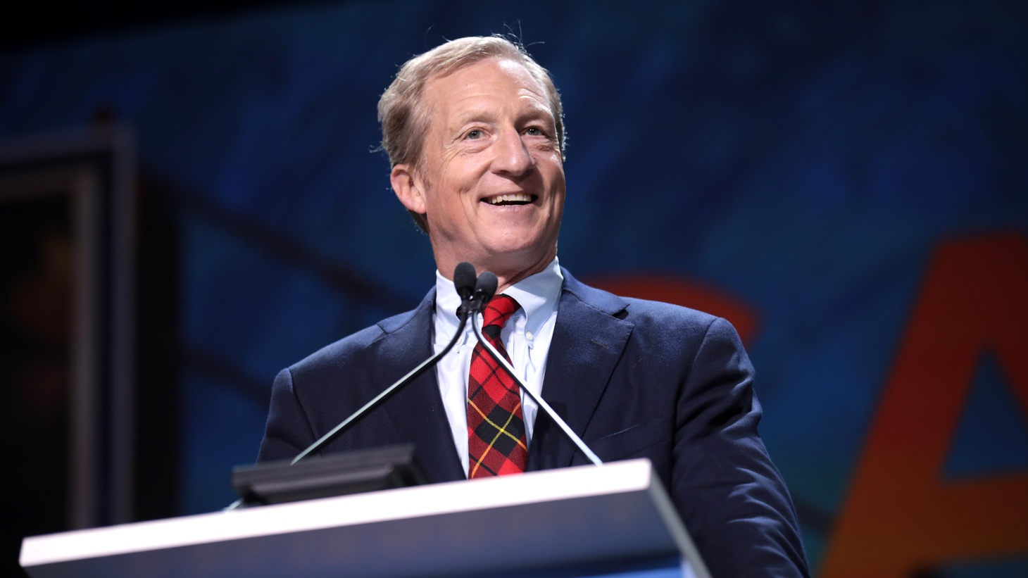 Tom Steyer speaking at the 2019 California Democratic Party State Convention at the George R. Moscone Convention Center in San Francisco, California.