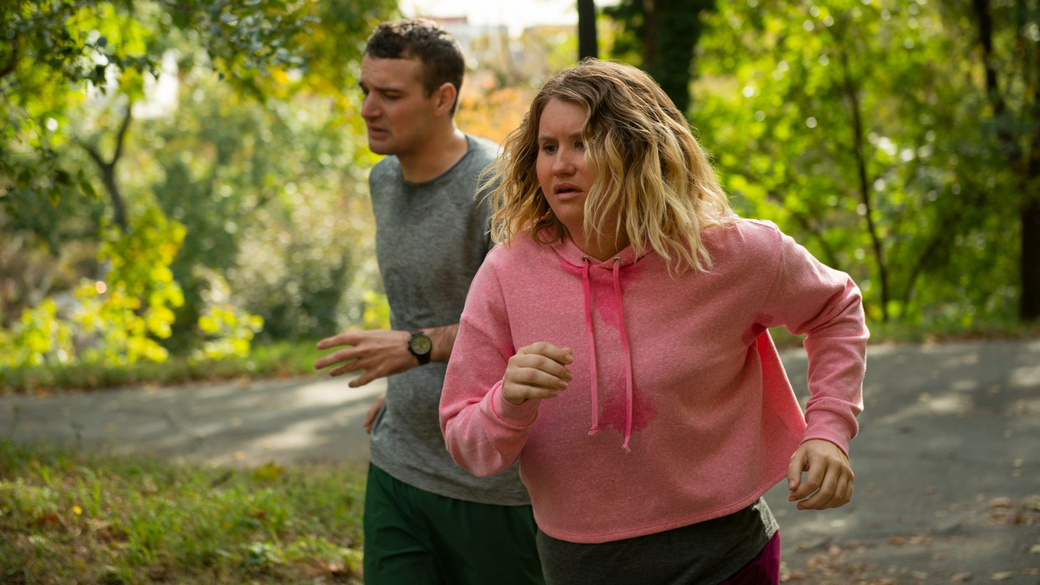 "Jillian Bell and Micah Stock as Brittany and Seth in ""Brittany Runs a Marathon."""