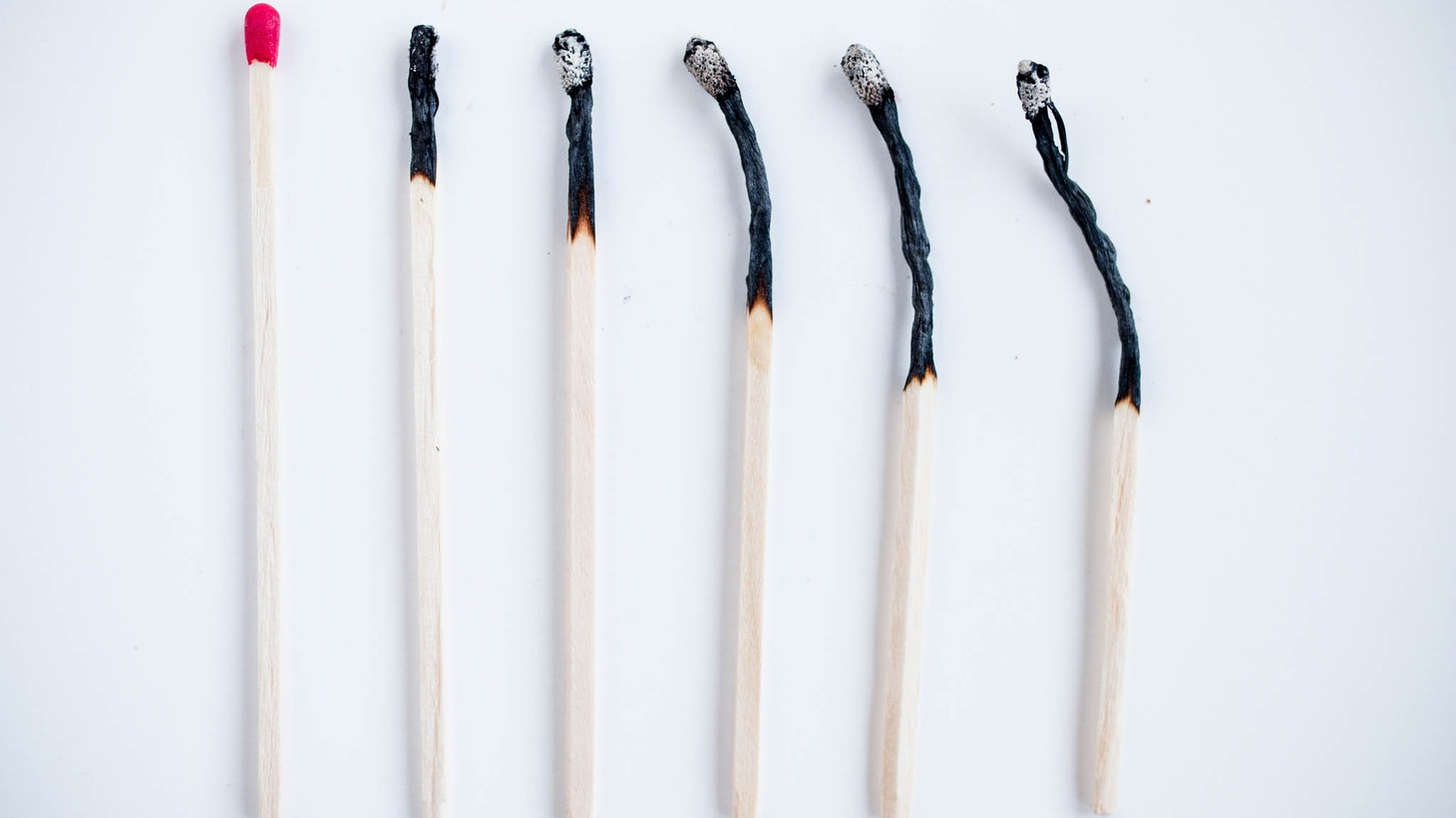 Fire matches and burned matches.