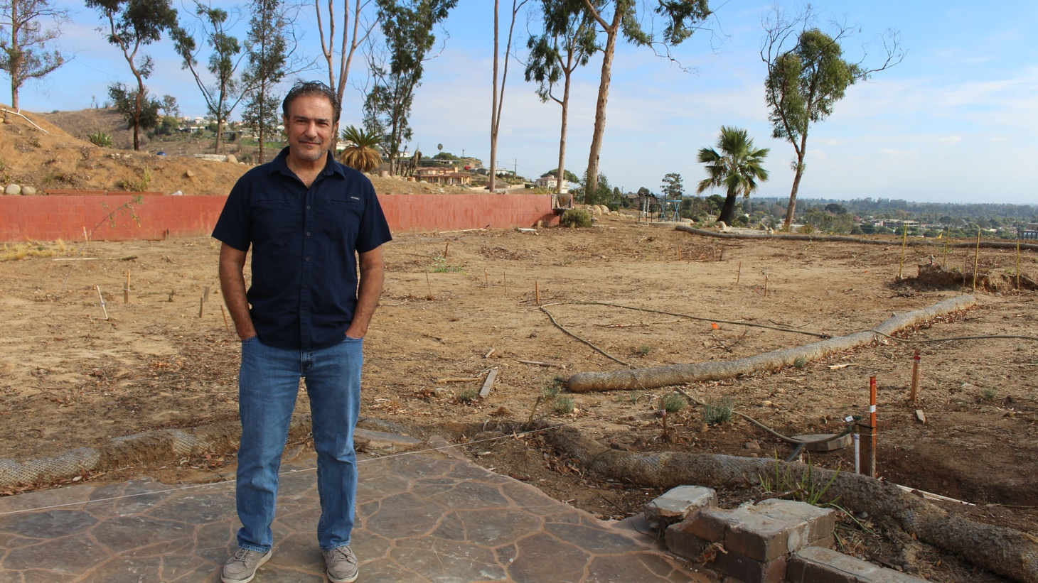 The remnants of Ventura resident Nick Bonge's burn home have been cleared, but he's still waiting to get the permits he needs to start rebuilding