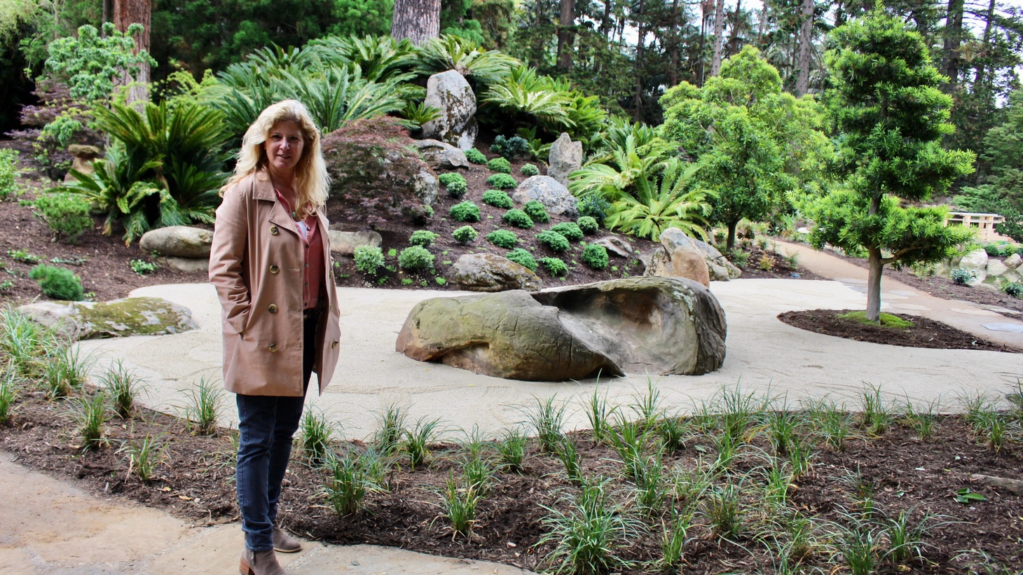 Despite the near perfection of Lotusland's new Japanese Garden, CEO, Gwen Stauffer (pictured) invites strollers to contemplate life's mysterious imperfection.