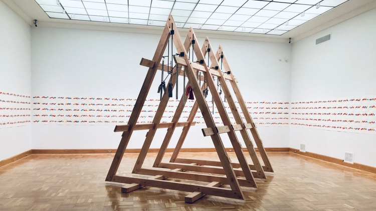 Chris Kallmyer's art piece,    Ensemble   , is now on display at the Santa Barbara Museum of Art. It's filled with eight microtonal chimes meant to be played by eight different people.