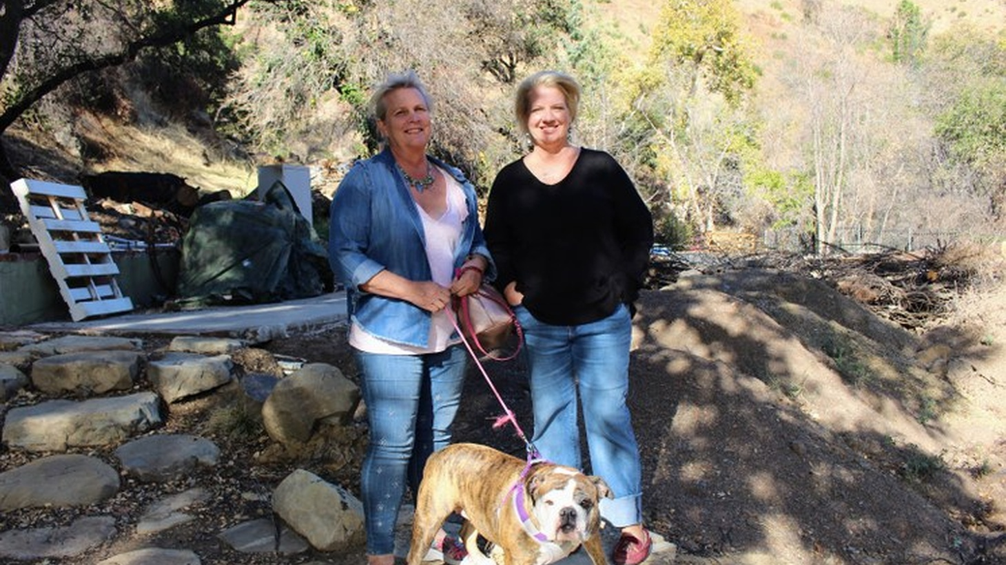 Monique Quigley (L) and Dawn Ceniceros (R) on Ceniceros' property in Ojai