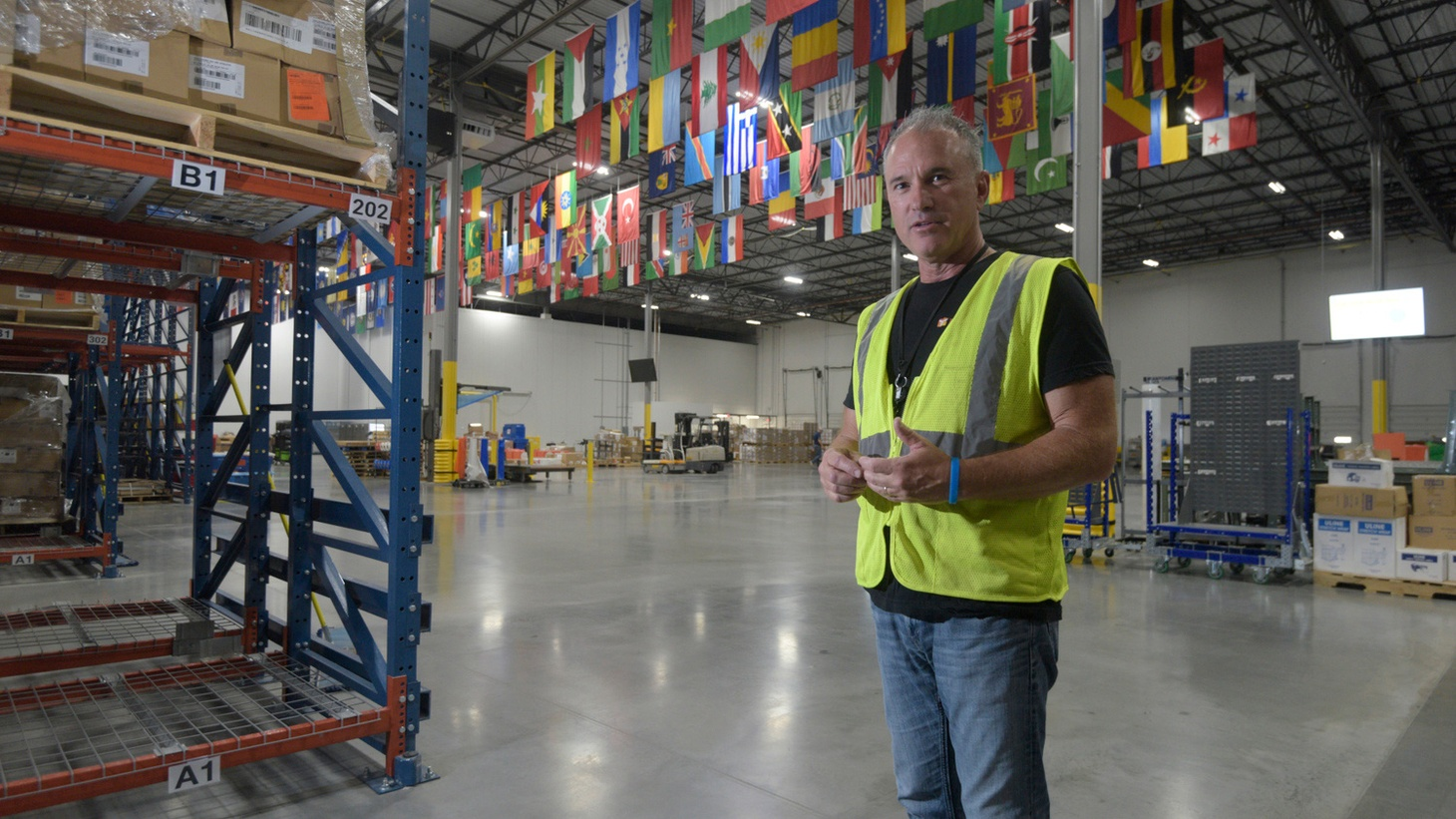 Thomas Tighe in Direct Relief's medical supply warehouse
