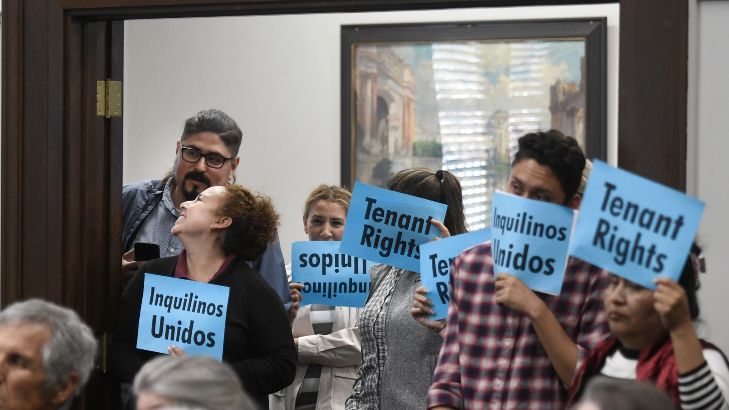 Citizens push for tenant rights at the City Council meeting on one-year lease requirements.