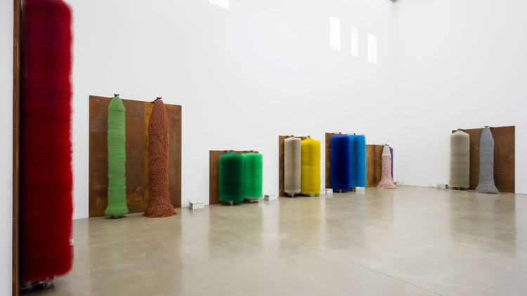 A  new art exhibition of works by Lara Favaretto  at the Museum of Contemporary Art Santa Barbara features car wash brushes -- the massive, colorful cylinders that smother your vehicle…