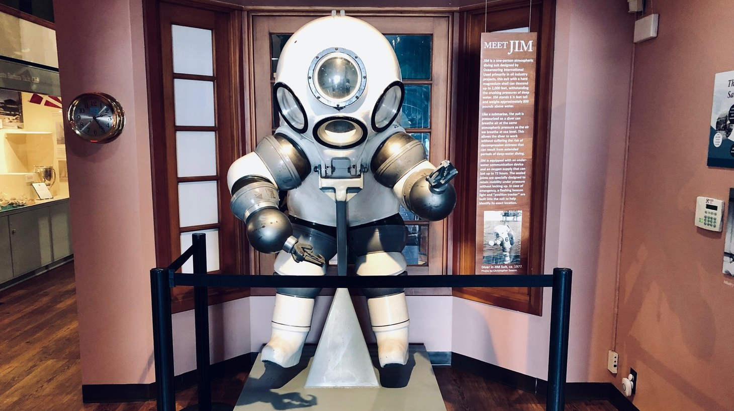 This one-person atmospheric diving suit displayed at the Santa Barbara Maritime Museum is used primarily in oil industry projects. The suit has a hard magnesium shell and can descend 2000 ft below the surface. It weighs nearly 800 pounds above water.