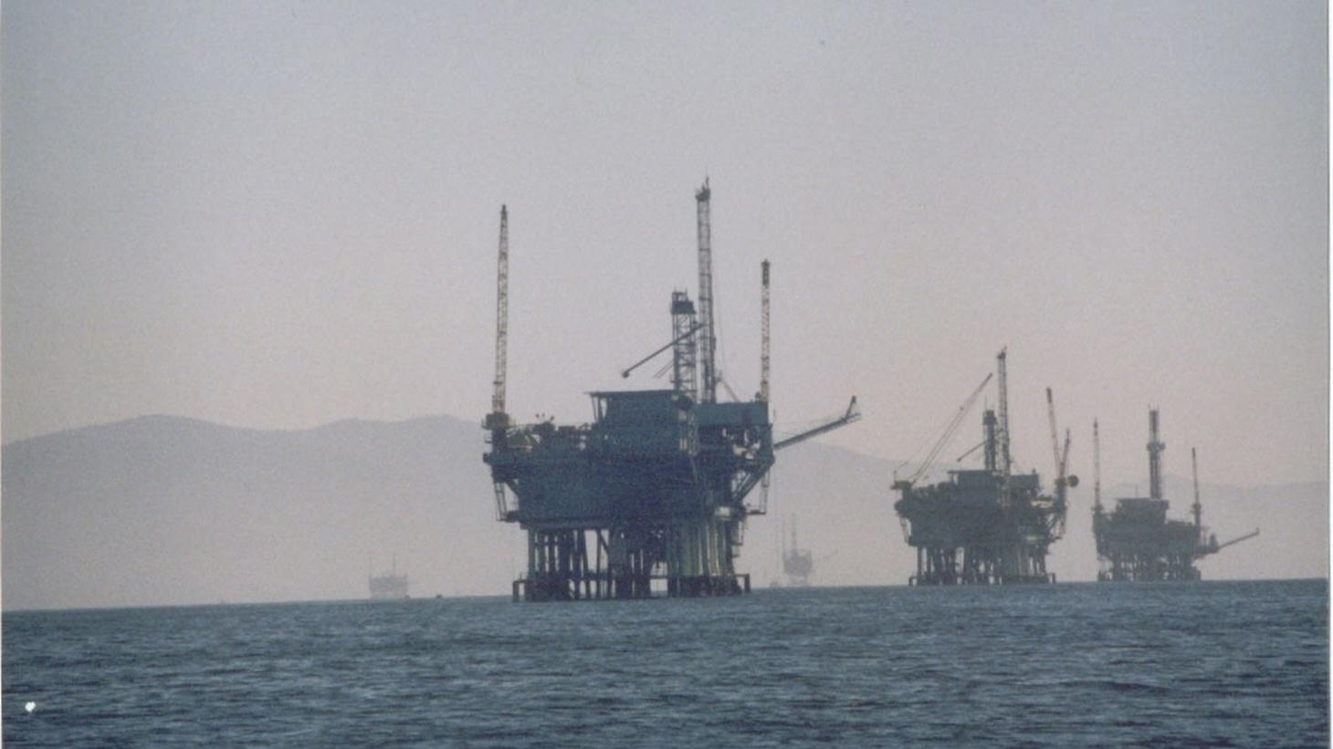 Oil rigs off the coast of California.