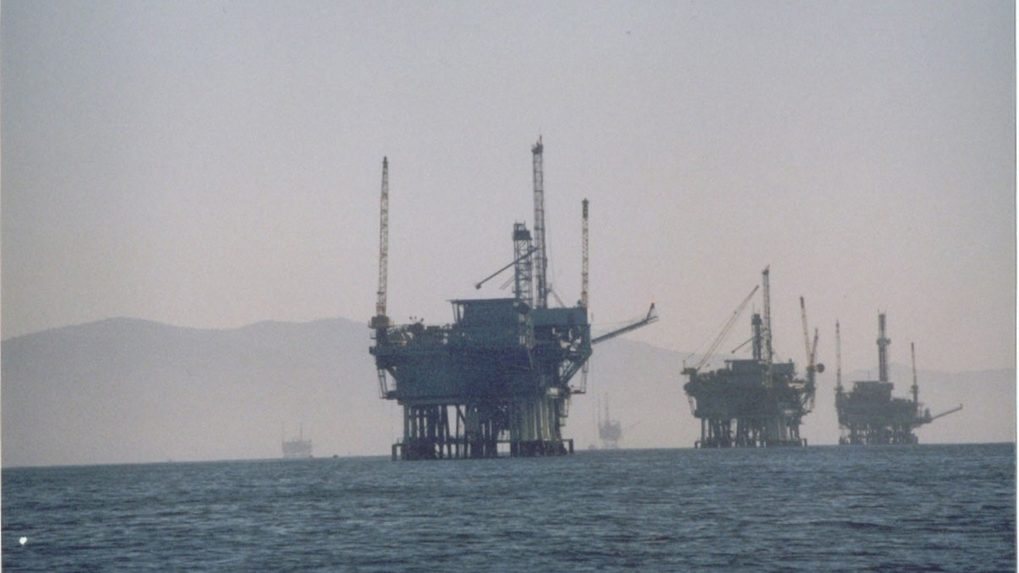 Oil rigs off the coast of California.
