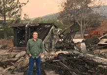 Scorched homes in the Ventura foothills