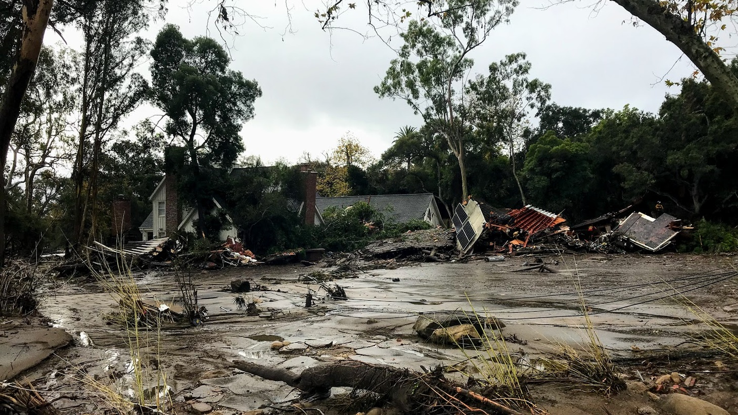 A destroyed home on the morning of the 1/9 Debris Flow in Montecito.