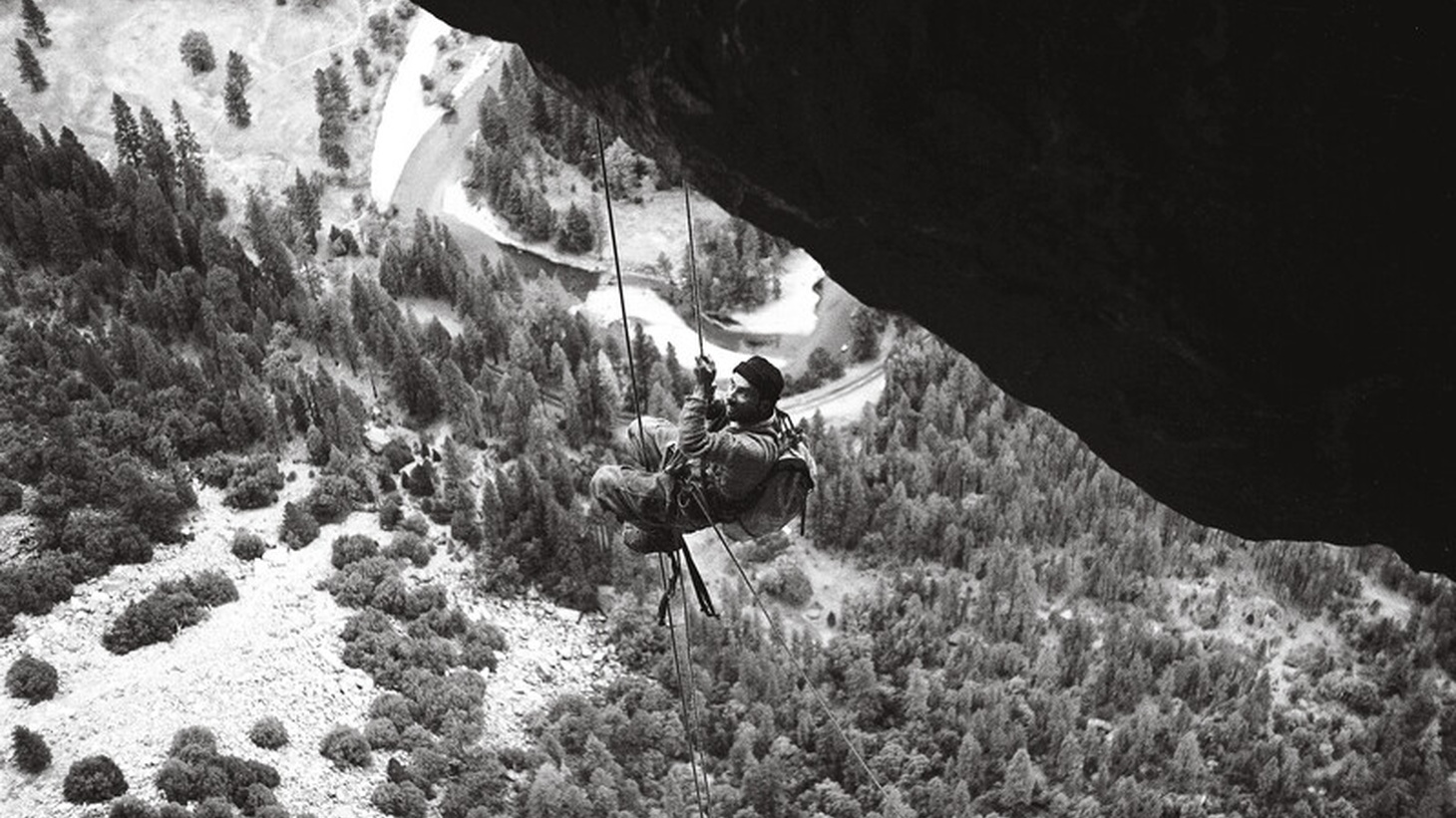 Yvon Chouinard graces the cover of his new book. He's shown on the cover at the Black Dihedral, North America Wall, El Capitan, Yosemite.