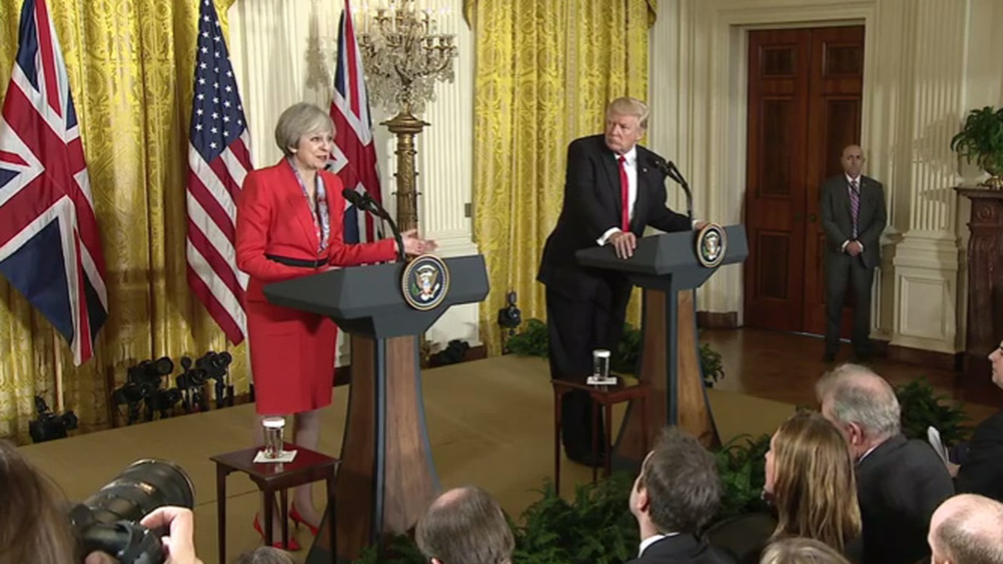 """Theresa May is the first foreign leader to sit down with Donald Trump as Commander in Chief. The British Prime Minister says it's to build on the """"special relationship"""" between the US and the UK. There's even talk of a new Trans-Atlantic trade deal. But how's that going to flyin a post-Brexit world, with a White House bent on """"buy American, hire American?"""" Guest host Barbara Bogaev looks at how the US withdrawing from global treaties and embracing Russia complicates the relationship."""
