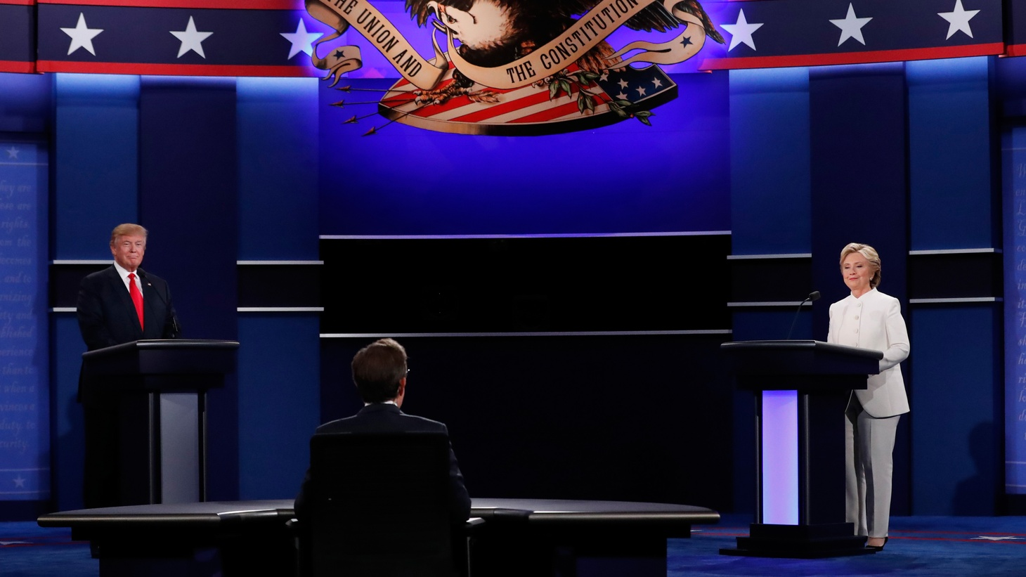 In last night's presidential debate in Las Vegas, Donald Trump refused to declare whether he'd accept the results of November's nationwide voting. Today, he told a rally he will accept the results-- if he wins…leaving open a possible challenge to the peaceful transition of power. The debate itself was almost traditional--until Hillary Clinton got under Trump's skin, giving way to another exchange of personal attacks and insults. We'll hear about the contentious issues, the likely impressions on various constituencies, the possible impact on the election—and the aftermath.
