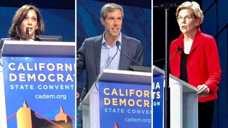 A few of the presidential candidates speaking at the 2019 California Democratic Convention in San Francisco.