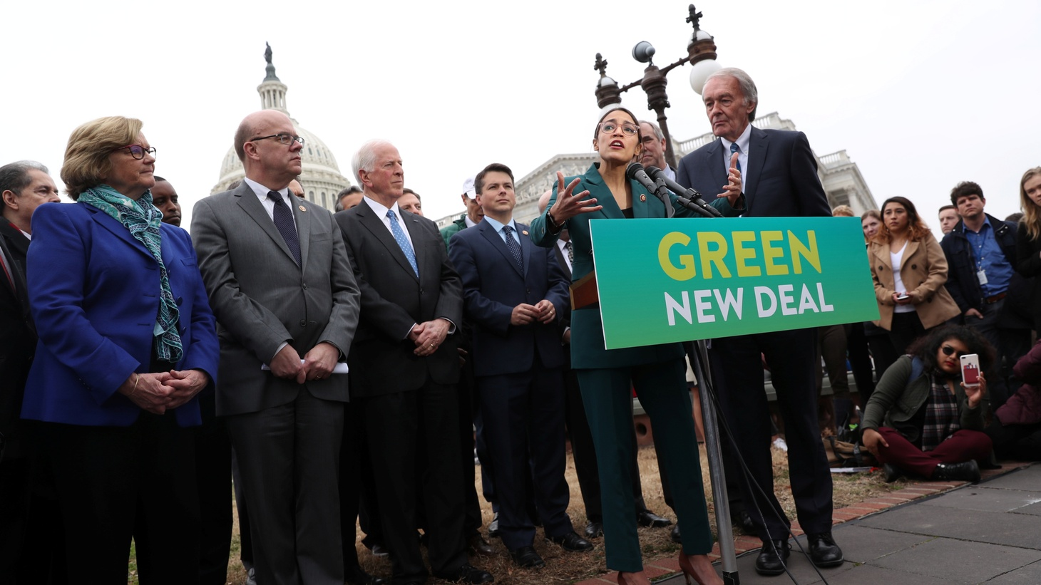 "U.S. Representative Alexandria Ocasio-Cortez (D-NY) and Senator Ed Markey (D-MA) hold a news conference for their proposed ""Green New Deal"" to achieve net-zero greenhouse gas emissions in 10 years, at the U.S. Capitol in Washington, U.S. February 7, 2019."